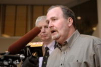 Mathews father, Albert Snyder talks with reporters Oct. 31 at the federal courthouse in Baltimore. (AP Photo/The (Baltimore) Sun, Glenn Fawcett)