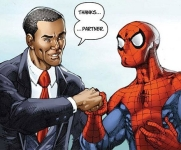 President Barack Obama and Spiderman