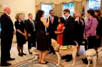 Guests and their canine companions from the Helen Keller National Center