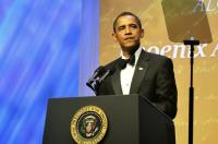 President Barack Obama is seen at the Congressional Black Caucus Foundation, Inc. dinner on Saturday Sept. 26, 2009 in Washington D.C. (AP Photo/Earl Gibson III)