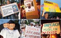 Obama protesters from rallies in New York, New Jersey, and Washington, D.C., over the last few months.   (Photo: Mark Peterson, Redux)