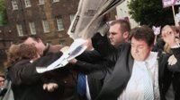 BNP party leader Nick Griffin, pelted with eggs