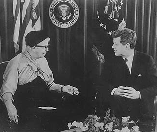 Eleanor Roosevelt and President John F. Kennedy discuss the Peace Corps, 1961.