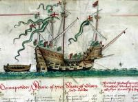 The sole known image of the Mary Rose, depicted in the Anthony Roll