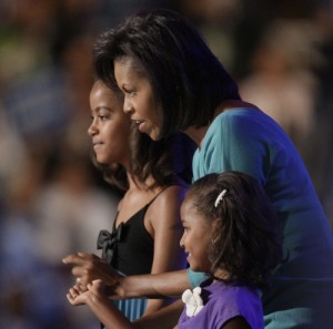 First Lady with daughters Sasha and Malia