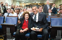 President Barack Obama marks veteran reporter Helen Thomas' 89th birthday