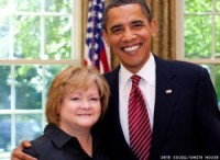 Judy Shepard, the mother of Matthew Shepard, with President Obama