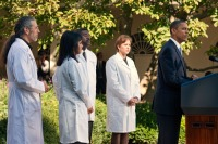 President Barack Obama speaks to doctors on the health care reform in the Rose Garden of the White House, Monday, Oct. 5, 2009