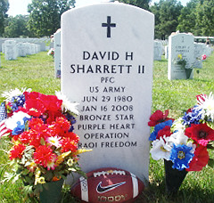 Gravestone of Pfc. David Sharrett at Arlington National Cemetery
