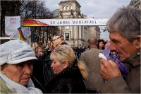 A group of Russian tourists gathered in front of the Brandenburg Gate in Berlin on Friday.