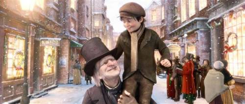 Scrooge (Jim Carrey) and Tiny Tim (Gary Oldman) are prepared to get you into the holiday spirit.