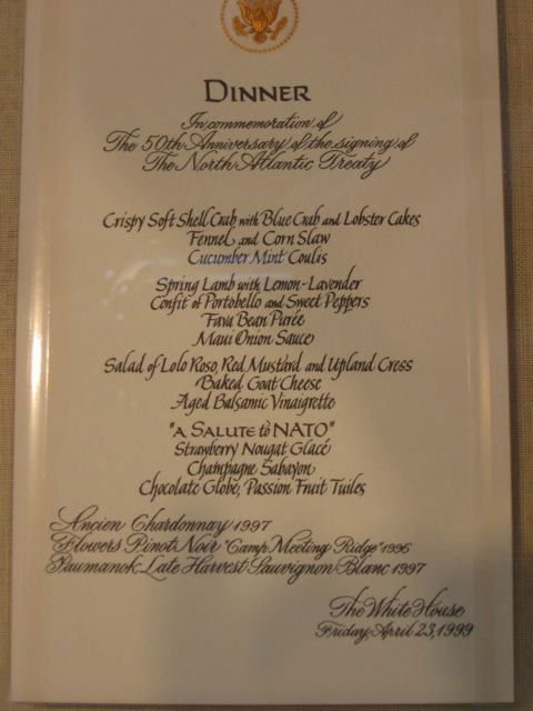 Dinner menu from the clinton white house