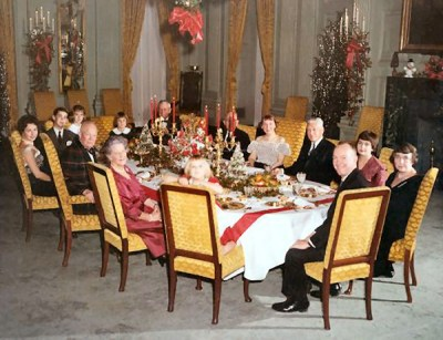 The Eisenhowers holding Christmas dinner in 1960