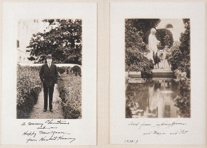 The Hoovers - 1932 Christmas card featuring side-by-side photographs of the executive couple