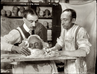 New York circa 1908. Making a plaster death mask