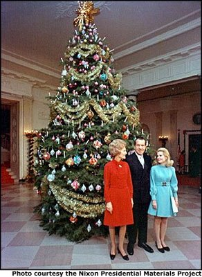 In 1969 Mrs. Nixon had the White House tree decorated in beautiful velvet and satin balls that represented the 50 States.