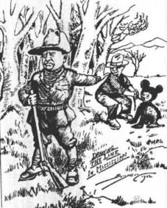 "1902 Washington Post illustration depicting the famous ""Teddy Bear"" incident, coining the term for the popular Christmas gift"