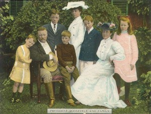 President Roosevelt posing for a portrait photograph with the entire Roosevelt clan