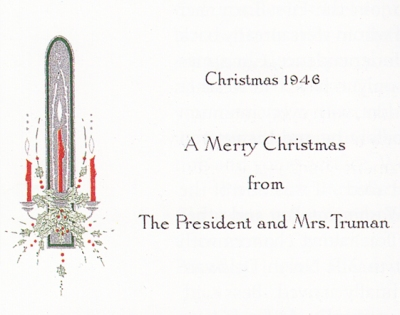 Official 1946 White House Christmas cards from the President and First Lady