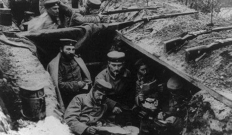 A quiet moment in German trenches during World War I