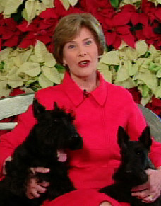 First Lady Laura Bush, with Barney and Miss Beazley, in the 2008 Barney Cam video.