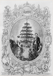 """Christmas Tree at Windsor Castle"" wood engraving by J.L. Williams from The Illustrated London News"