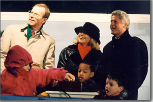 President Clinton and First Lady Hillary at the 1996 National Christmas Tree lighting ceremony