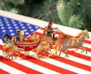 2001 commemorative ornament featuring President Johnson taking his family for a carriage ride during Christmas at the White House