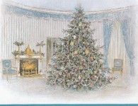 1967 Presidential Christmas cards from the Johnsons depicting the White House Christmas tree in the Blue Room