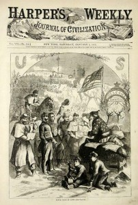 Commissioned by Abraham Lincoln, Thomas Nast illustrated the cover of Harper's Weekly in January of 1863, depicting Father Christmas (a.k.a. Santa Claus) as we imagine him today