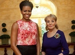 First Lady Michelle Obama and Barbara Walters