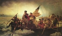 The famous painting by Emanuel Leutze featuring George Washington leading his troops across the Delaware on Christmas of 1776. Future President James Monroe is depicted holding the American flag.