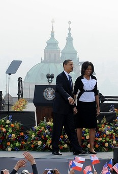 President Barack Obama with First Lady Michelle greets the crowd before his speech at Hradcansky square in Prague on April 5, 2009