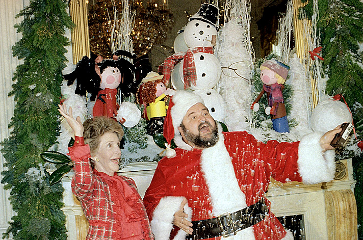 First Lady Nancy Reagan And Santa Aka Dom DeLuise, Throw Some Artificial  Snow In The