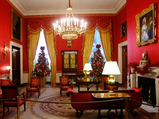 The Red Room of the White House, with holiday decorations, Dec. 2, 2009. This years holiday theme at the White House is reflect, rejoice and renew.