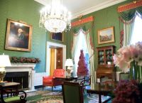The Green Room of the White House, with Christmas decorations, is seen during a press tour of the holiday decorations in Washington, DC