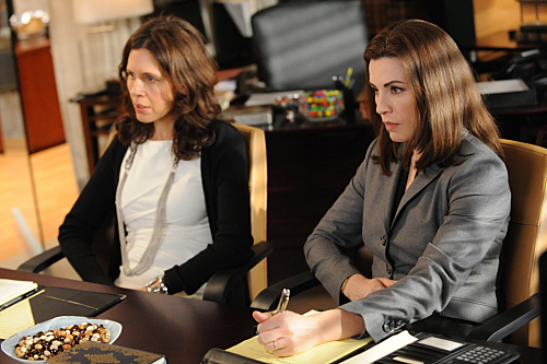 "Actors Jessica Hecht and Julianna Margulies in an episode of CBS' ""The Good Wife"""