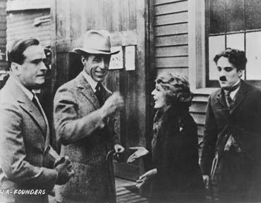 From left to right: Douglas Fairbanks Sr., D.W. Griffith, Mary Pickford, and Charles Chaplin, around the time they founded United Artists in 1919