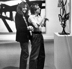 Diane Keaton and Woody Allen analyze a sculpture on display at MOMA in Manhattan (1979)