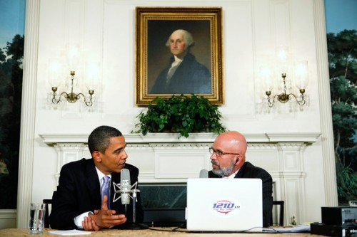 President Barack Obama (L) speaks as he is interviewed by radio show host Michael Smerconish (R) during a live broadcast from the Diplomatic Reception Room of the White House August 20, 2009 in Washington, DC. Other than being interviewed by Smerconish, Obama also took questions from a few call-in audience members.