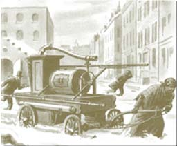 Drawing of Molly Williams pulling fire pump through snow storm