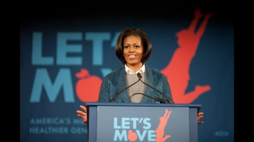 "First Lady Michelle Obama delivers remarks on the ""Let's Move"" health initiative at Fairhill Elementary School in Philadelphia, Pa., Feb. 19, 2010. (Official White House Photo by Lawrence Jackson)"